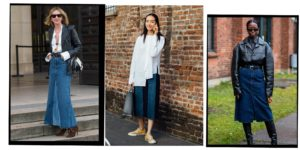 How to wear long denim skirts